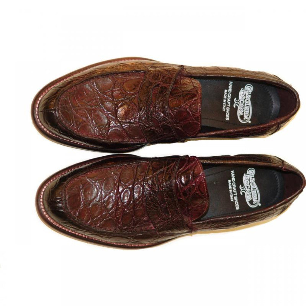 Pelle Line Exclusive 8871 Liver Crocodile Penny Loafer With Lug Sole