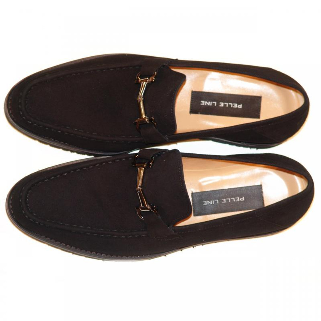Pelle Line Exclusive 3452 Bit Buckle Loafer Black Suede