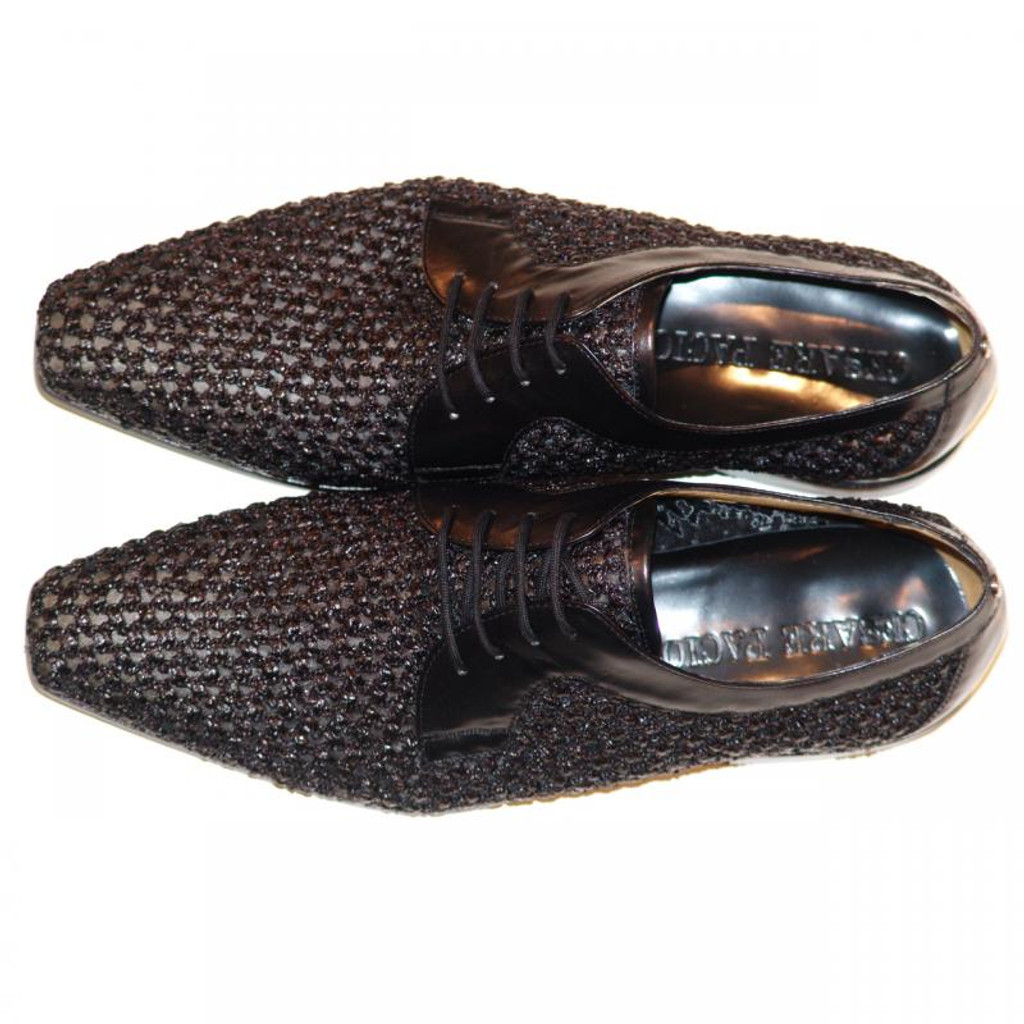 Cesare Paciotti 47466 Black Woven Design With Mesh Lace Up