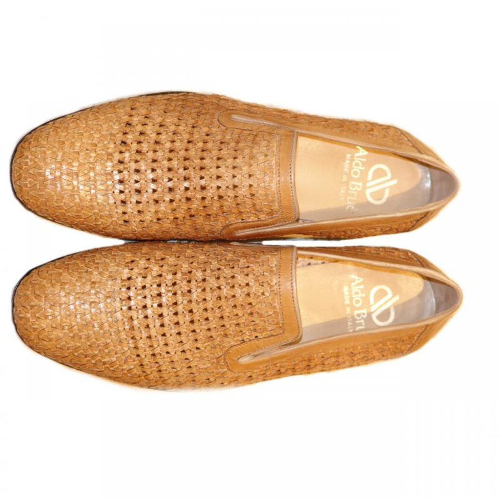 Aldo Brue 1369 Full Woven Leather Loafer Tan
