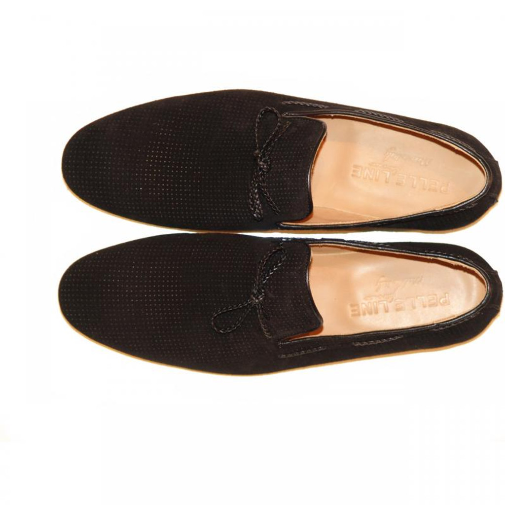 Pelle Line Exclusive 527 Perforated Suede Loafer Black