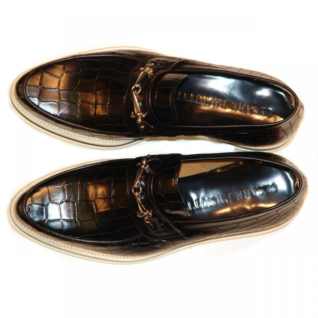 Cesare Paciotti 47835 Alligator Design Buckle Loafer Black