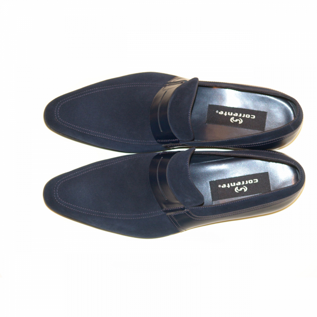 Corrente 4127 Suede And Leather Loafer- Navy