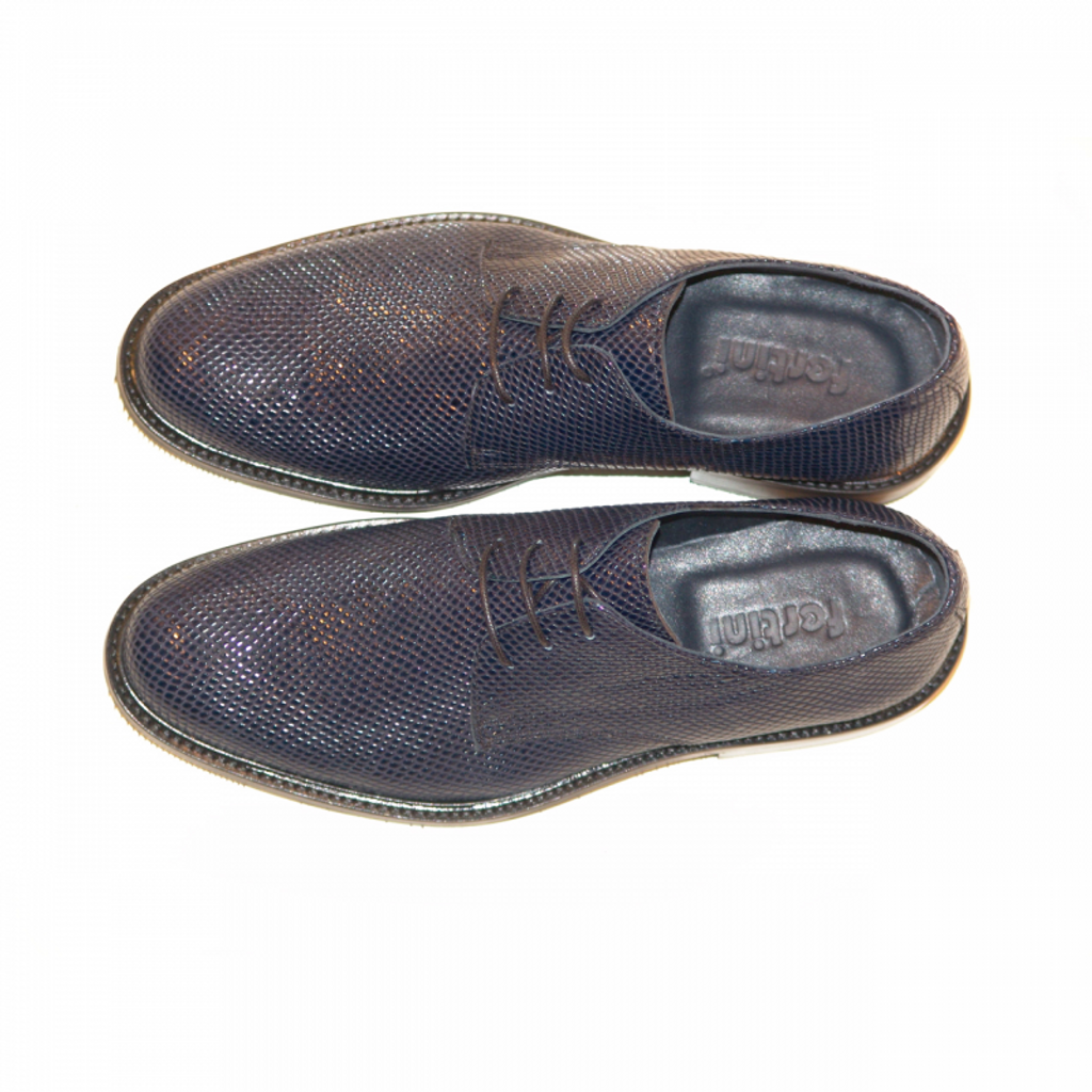 Pelle Line Exclusive 750 design leather lace up -Navy