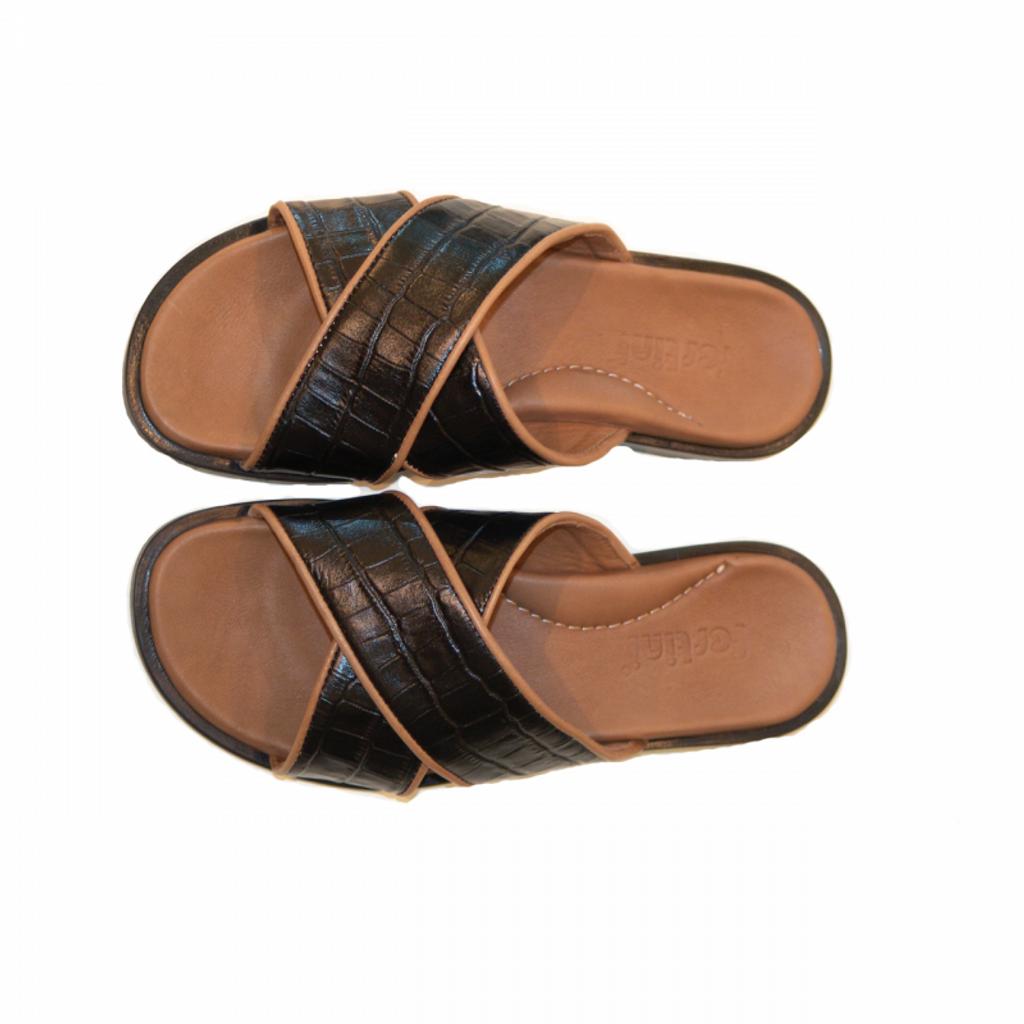 Pelle Line Exclusive 421 Sandal Black Croco leather