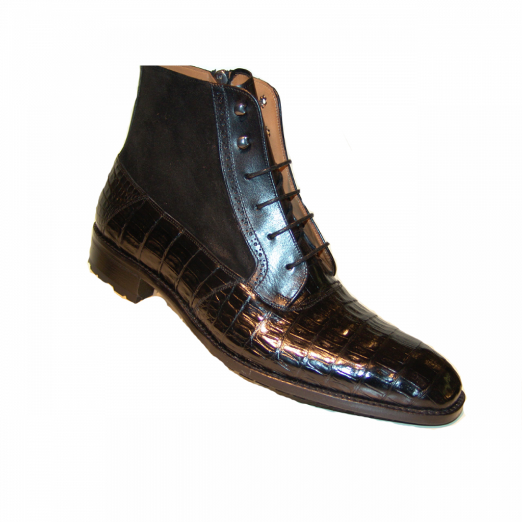 Pelle Line Exclisive Mezlan, Molino Alligator and suede Laceup Boot Black