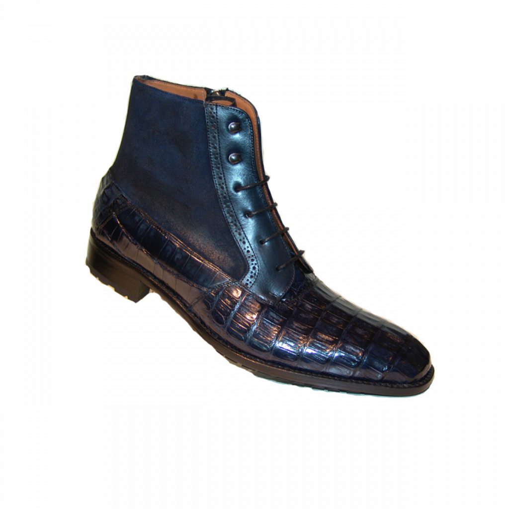 Pelle Line Exclusive Mezlan, Molino Alligator and suede Laceup Boot Navy