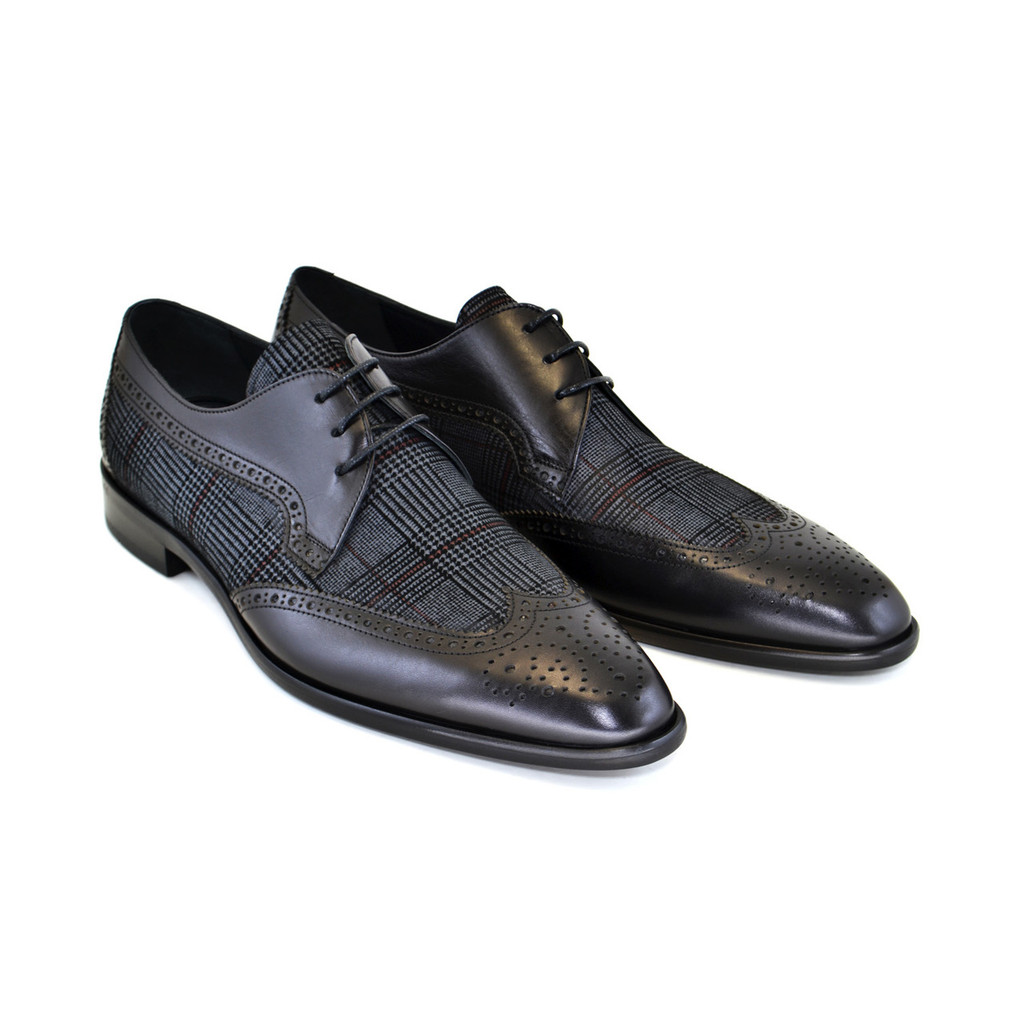 Corrente 3750- Wingtip with pattern suede vamp-Black