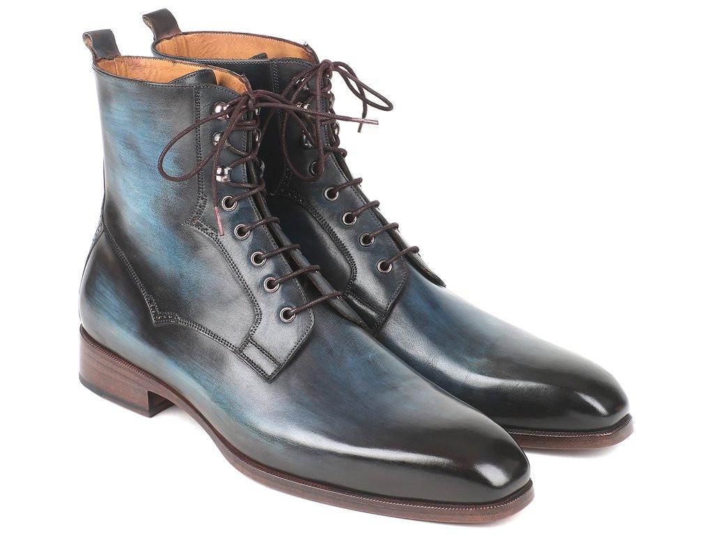Paul Parkman Men's Blue & Brown Leather Boots (ID#BT548AW)