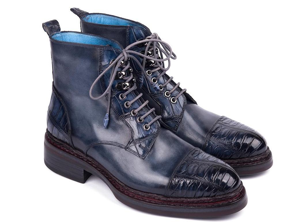 Paul Parkman Genuine Crocodile & Calfskin Captoe Boots Navy (ID#PW611-NVY)