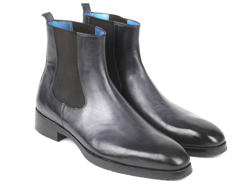Paul Parkman Black & Gray Chelsea Boots (ID#BT661BLK)