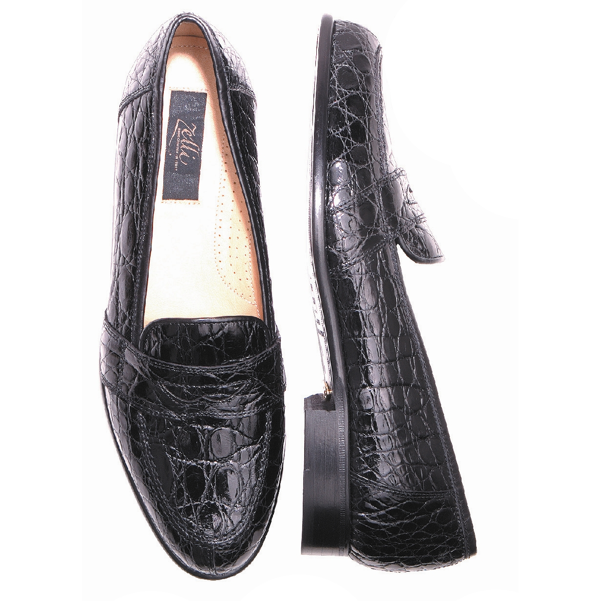 Zelli Tuscany Crocodile Penny Slip On Black