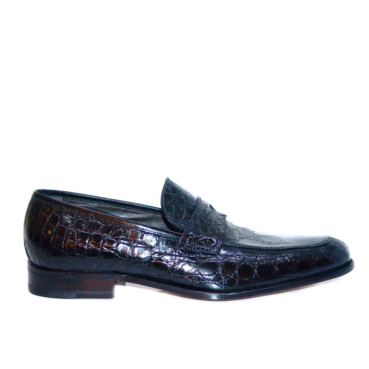 Moreschi 36630 Full Alligator Penny Loafer Black