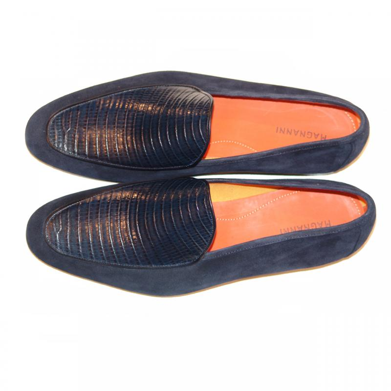 Magnanni Exclusive 6323 Lizard Vamp Suede Loafer Navy