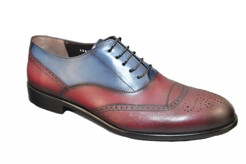Corrente 4583 Perforated toe Lace up  -Burgundy-Blue