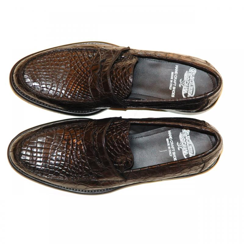 Pelle Line Exclusive 8871 Black Crocodile Penny Loafer With Lug Sole