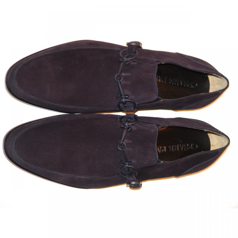 Cesare Paciotti 47738 Navy Suede Loafer With Dager Buckle
