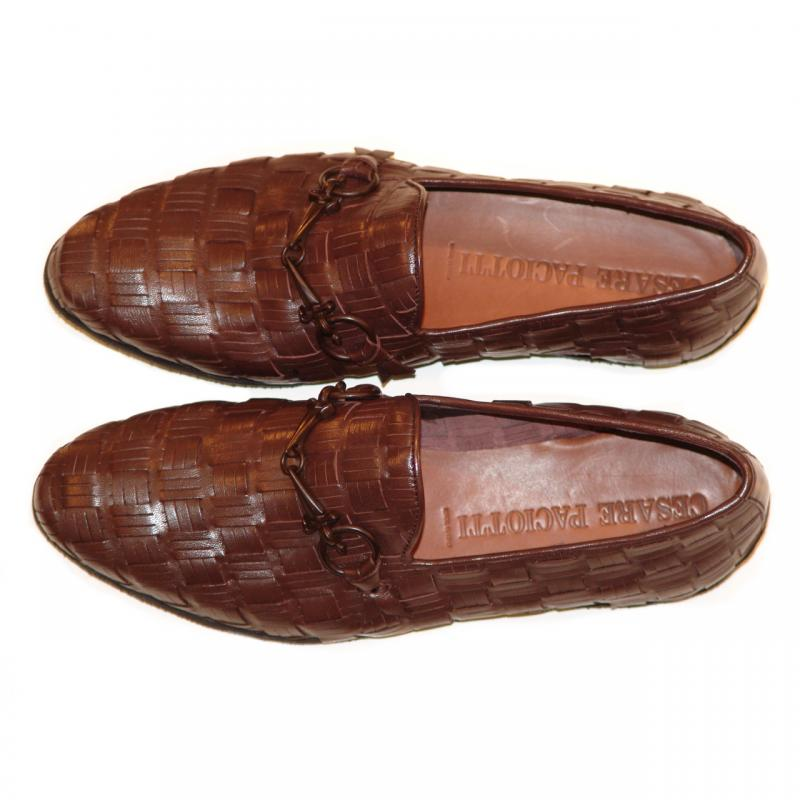 Cesare Paciotti 47710 Brown Hand Woven Loafer With Dager Buckle
