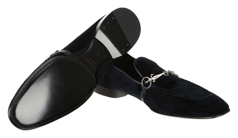 Cesare Paciotti 48361 Navy Blue Velvet Loafer With Dager Buckle