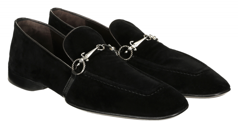 Cesare Paciotti 48361 Black Velvet Loafer With Dager Buckle