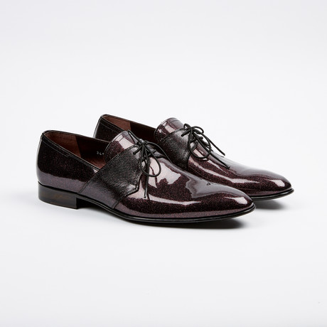 Corrente 3454 Formal sparkel leather laceup- Burgundy