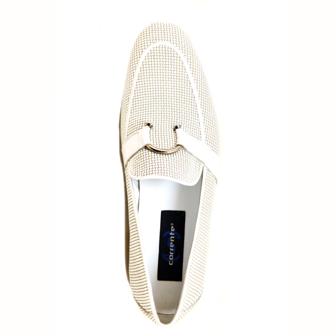 Corrente 4905 Woven Loafer with horseshoe buckle- White