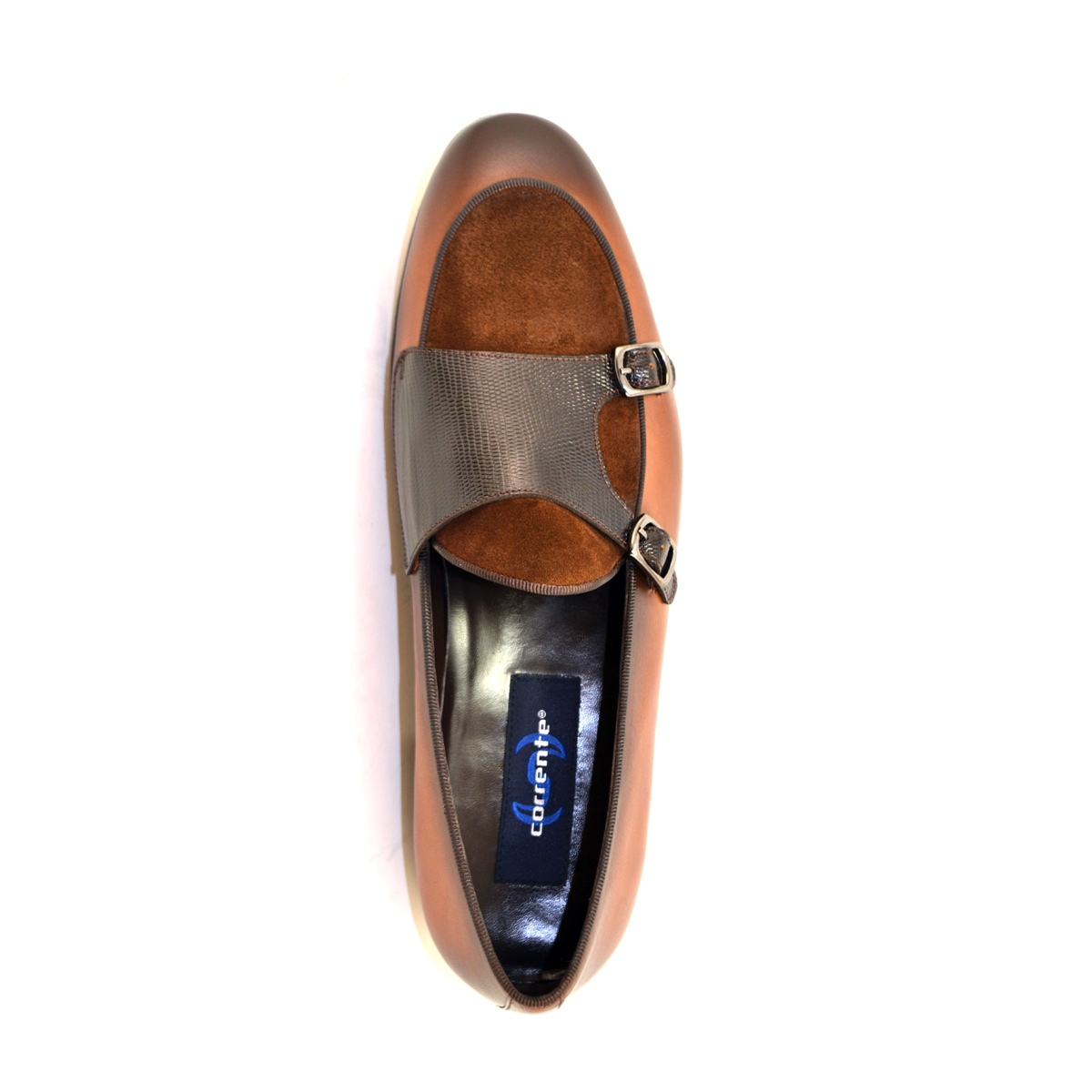 Corrente 4661-Double Monk strap Loafer, Lizard and suede vamp, Brown