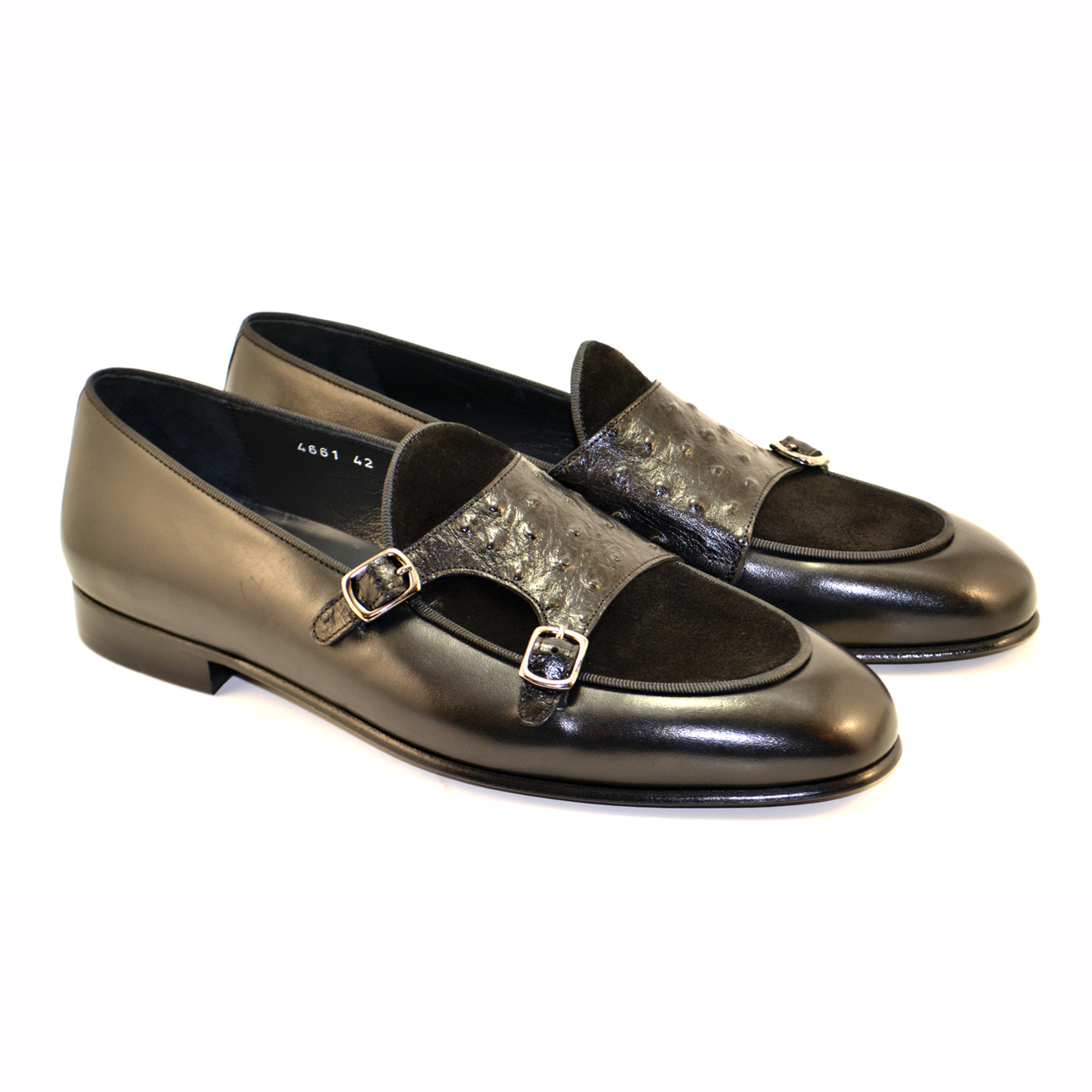 Corrente 4661-Double Monk strap Loafer, Ostrich and suede vamp, Black
