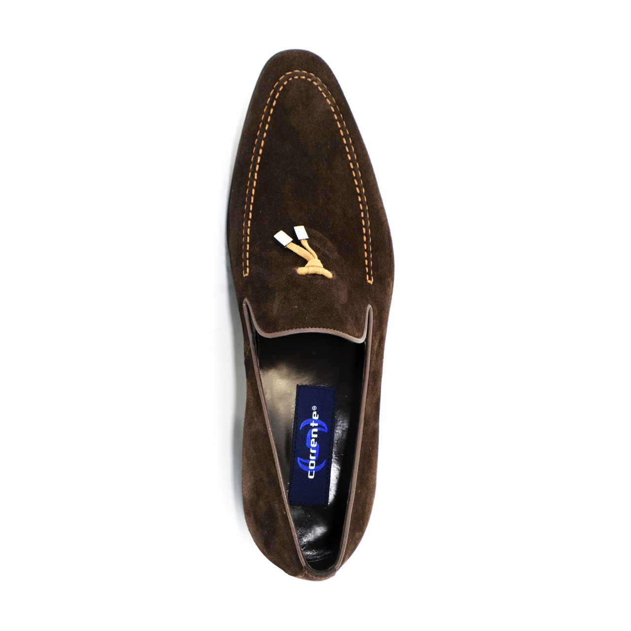 Corrente 5060 Suede Loafer with whit contrast strap- Brown