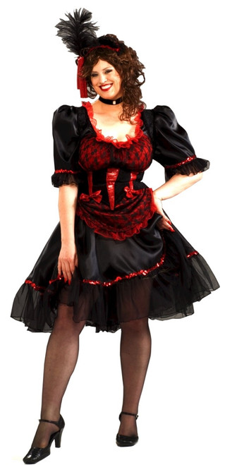 Ladies Plus Saloon Girl Costume