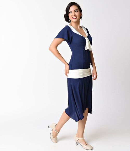 Vintage Blue and White Flapper Day Dress
