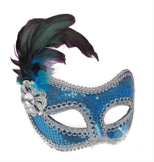 Turquoise Sequin Fashion Mask