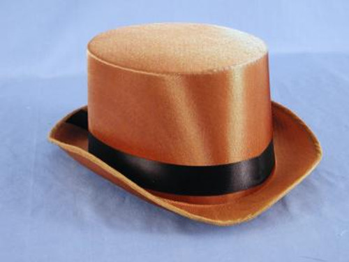 Brown Satin Steampunk Top Hat