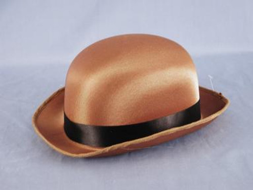Brown Satin Derby Bowler Hat