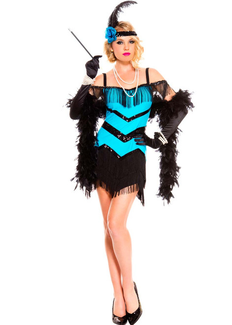 20s Turquoise Seductive Flapper Costume