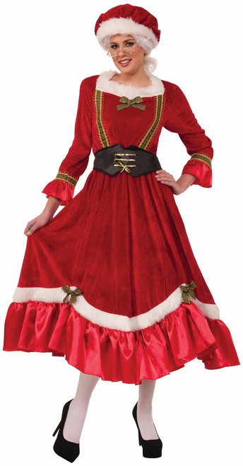 Mrs Claus Classic Christmas Costume With Corset Belt