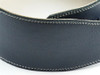 "3.5"" Midnight Blue Leather Guitar Strap with Cream Stitch"