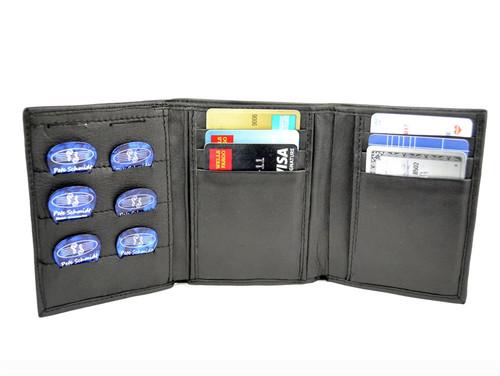 "Black Leather ""Pick Panel"" Wallet - Tri-Fold"