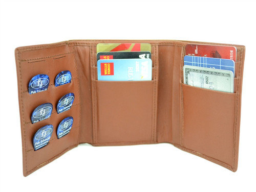 """Brown Leather """"Pick Panel"""" Wallet - Tri-Fold"""