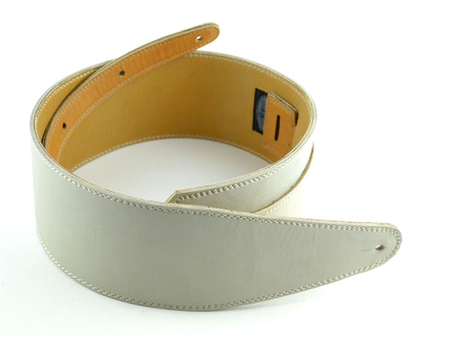 "3.5"" Bone White Leather Guitar Strap"