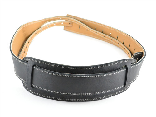 Black Velvet Leather Banjo Strap - Cradle or Hook Style