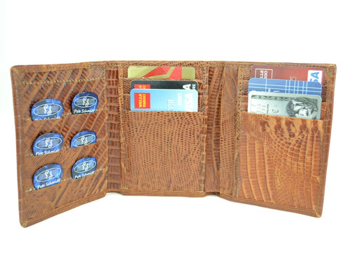 Brown Iguana Leather Pick Panel Tri-Fold  Wallet