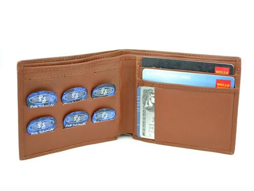 "Brown Leather ""Pick Panel"" Wallet - Bi-Fold"
