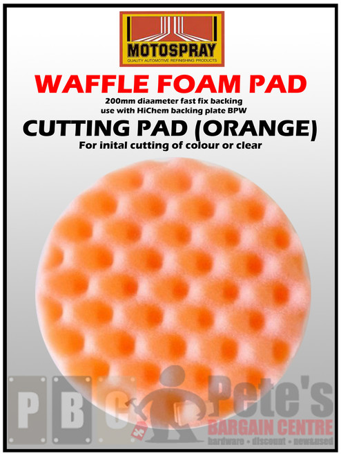 WAFFLE PADS - ( 200mm diameter velcro backed. Use BPW ) Orange - Cutting 1 Pkt