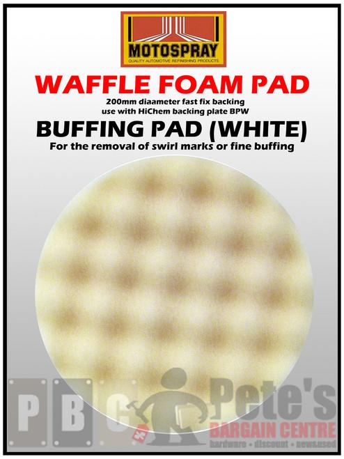 WAFFLE PADS - ( 200mm diameter velcro backed. Use BPW ) White - Buffing 1 Pkt
