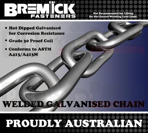 8.0mm Galvanised Chain Per Metre