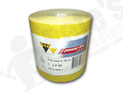 115 mm wide x 10 metre x 40 grit sia Yellow Sandpaper roll
