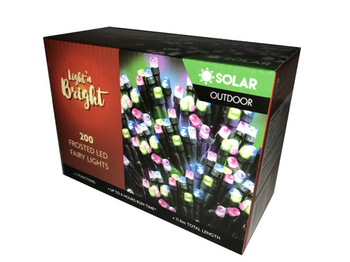 Fairy Lights Multi Colour Frosted 2F Pk200 *SOLAR*