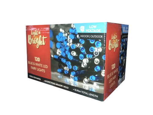 Fairy Lights Blue & White 8-Function Pk120 *Low Voltage*