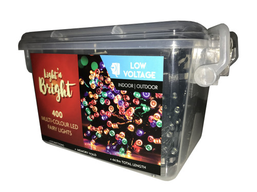 39.9mtrs Fairy Lights Multi-Colour 8-Function Pk400 *Low Voltage*